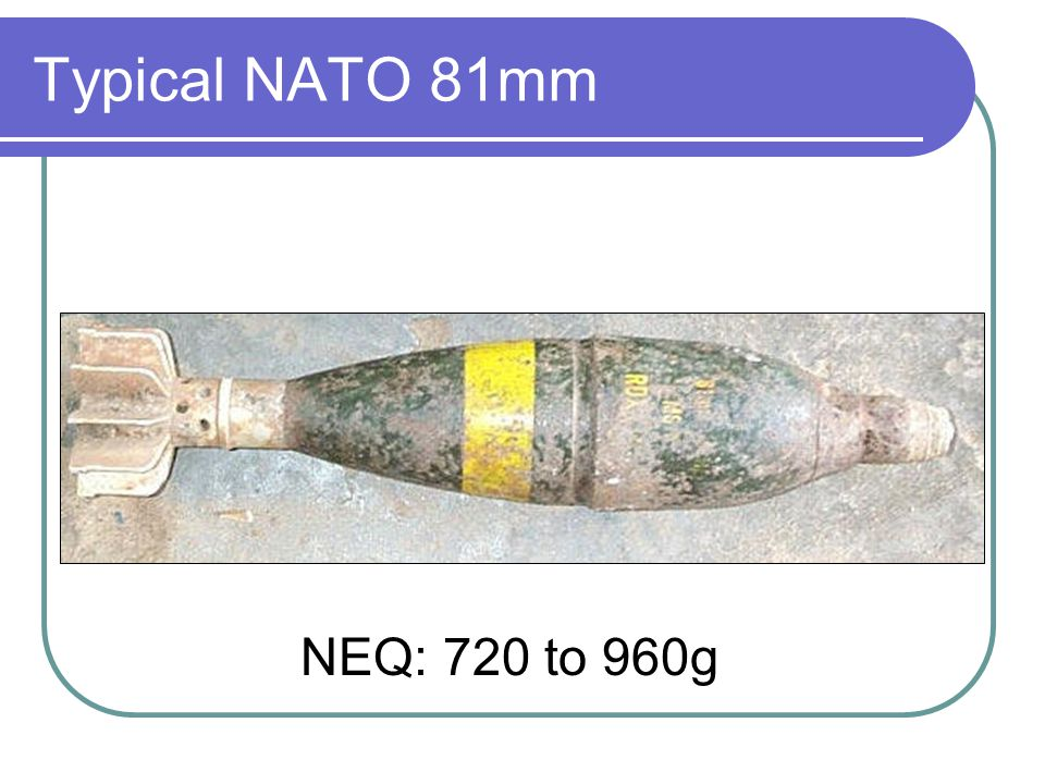 Typical NATO 81mm NEQ: 720 to 960g