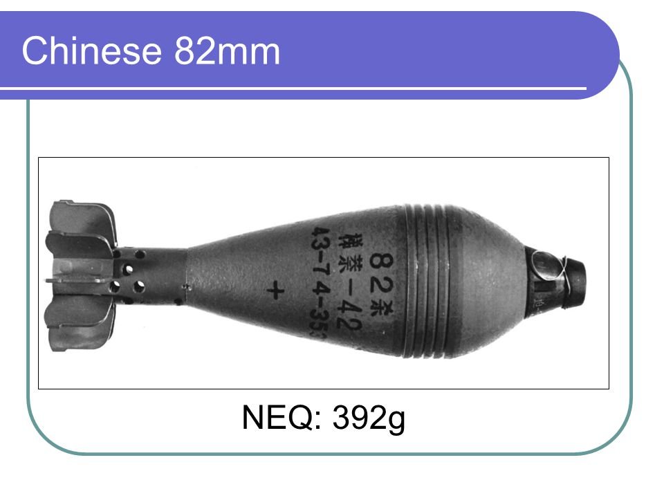 Chinese 82mm NEQ: 392g