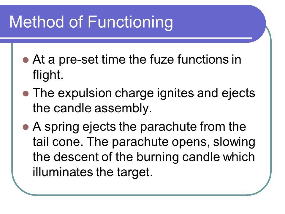 Method of Functioning At a pre-set time the fuze functions in flight.