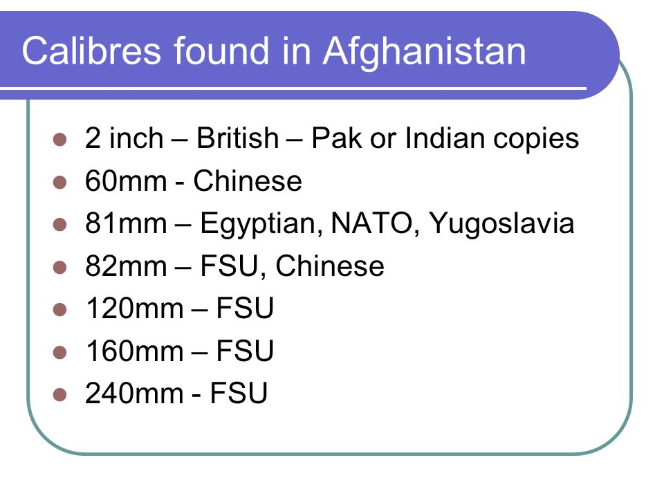 Calibres found in Afghanistan