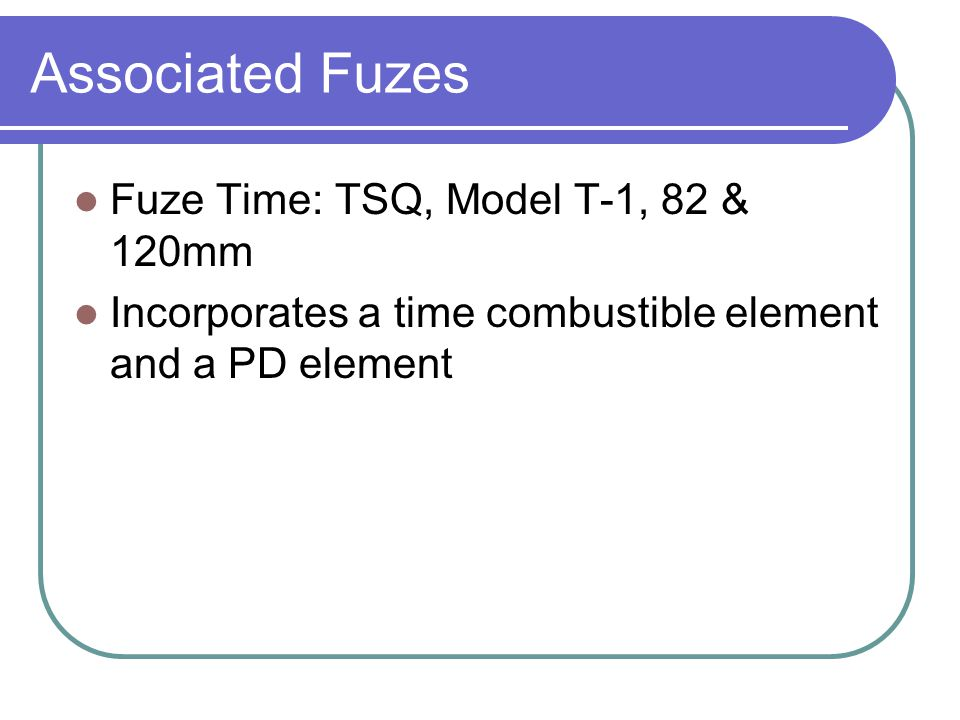 Associated Fuzes Fuze Time: TSQ, Model T-1, 82 & 120mm