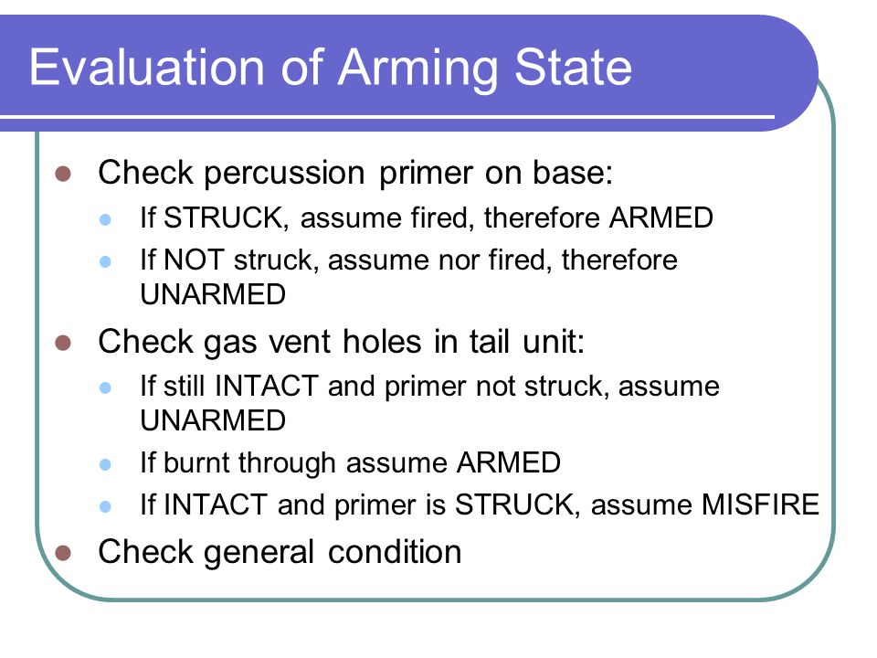 Evaluation of Arming State