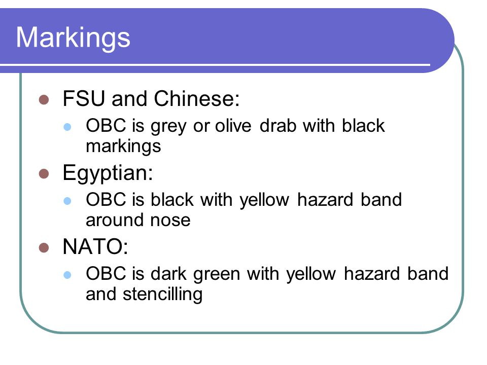 Markings FSU and Chinese: Egyptian: NATO: