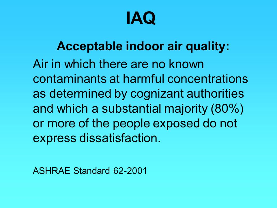 Acceptable indoor air quality: