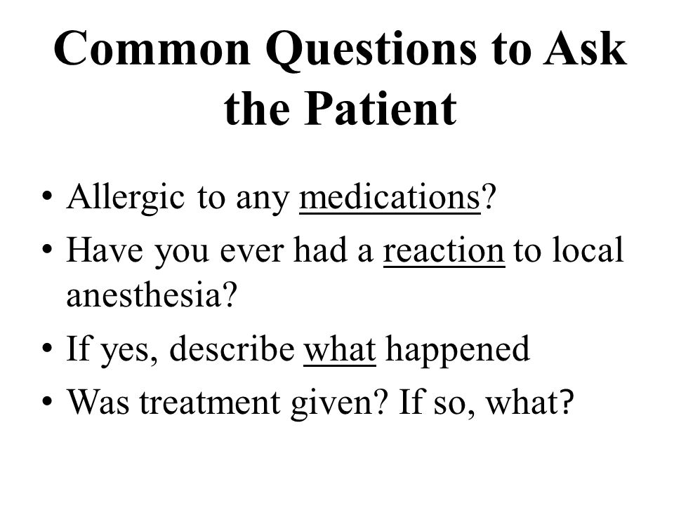Common Questions to Ask the Patient