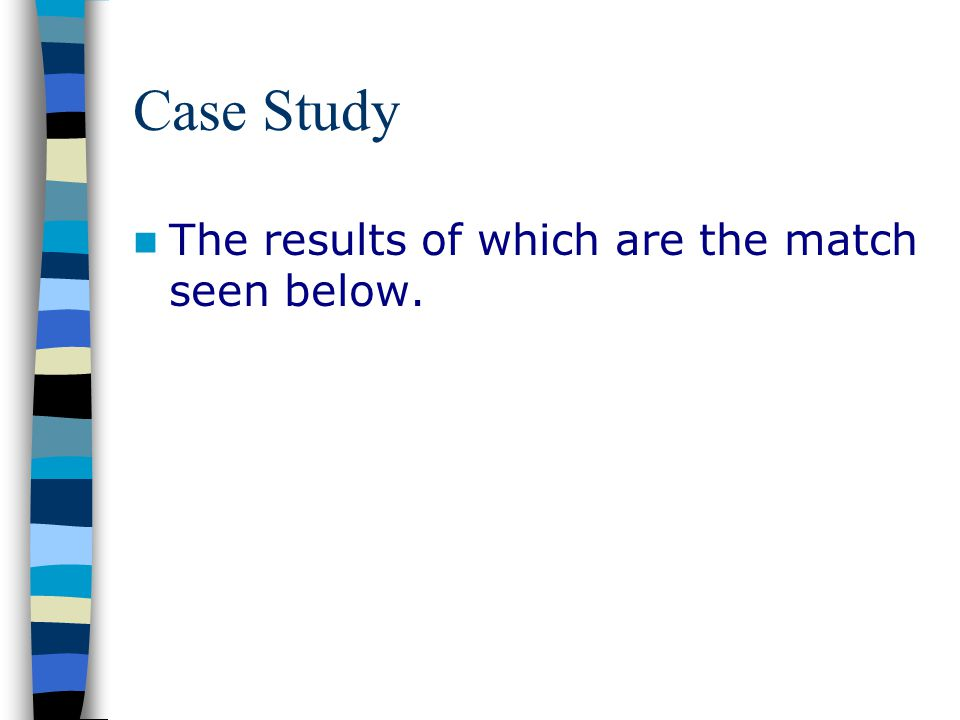 Case Study The results of which are the match seen below.