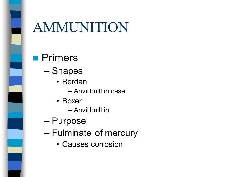 AMMUNITION Primers Shapes Purpose Fulminate of mercury Berdan Boxer