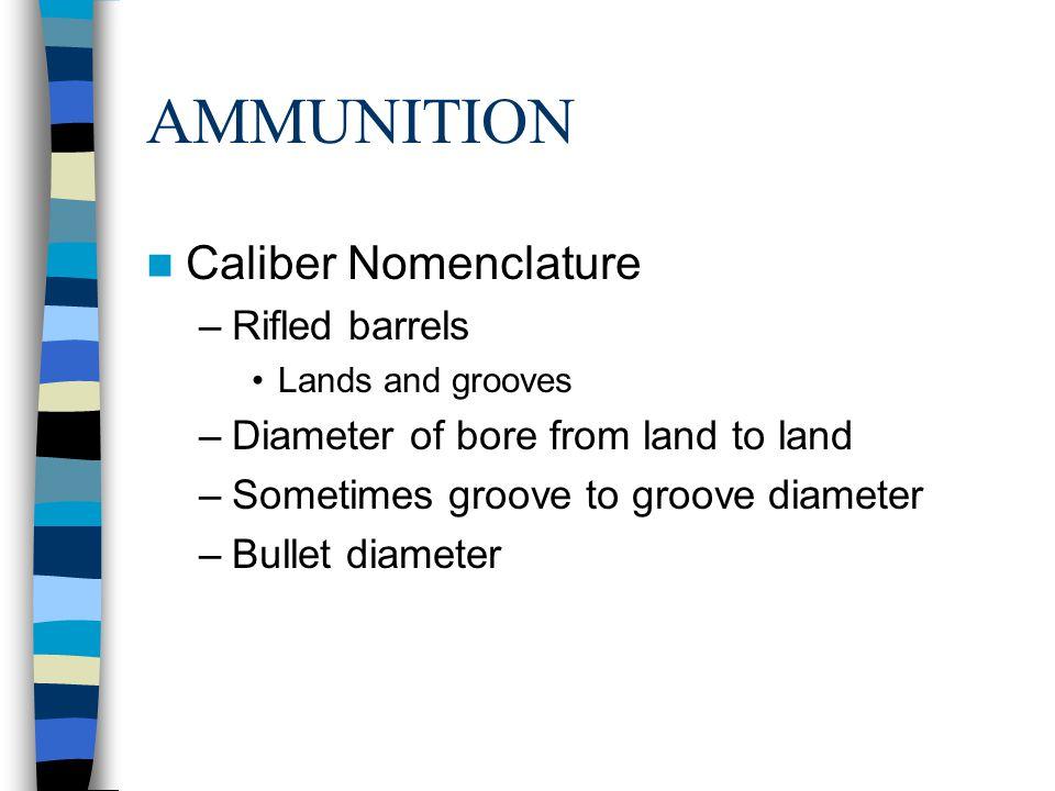AMMUNITION Caliber Nomenclature Rifled barrels