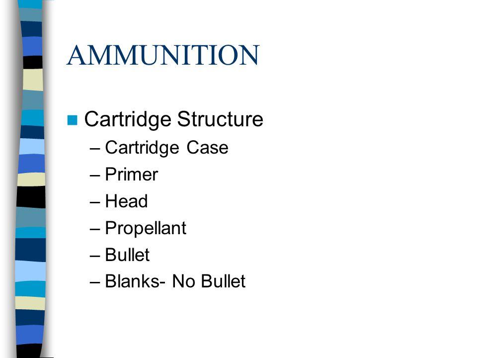 AMMUNITION Cartridge Structure Cartridge Case Primer Head Propellant