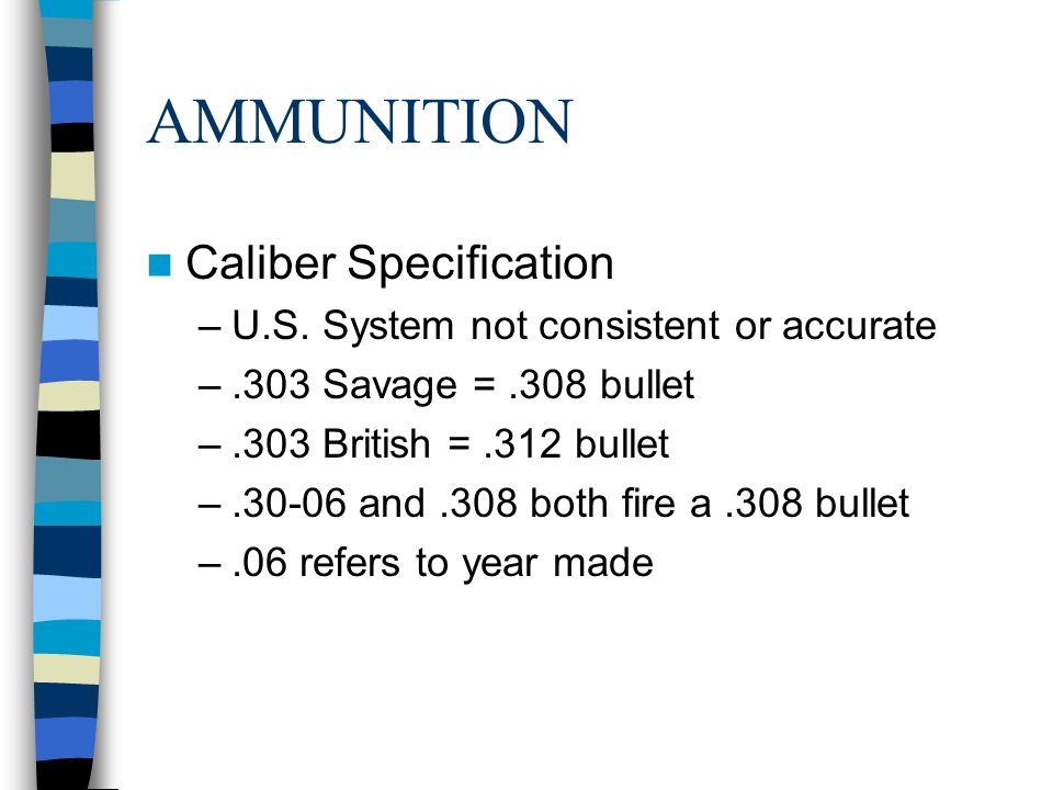 AMMUNITION Caliber Specification