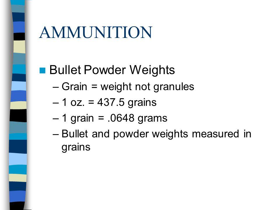 AMMUNITION Bullet Powder Weights Grain = weight not granules
