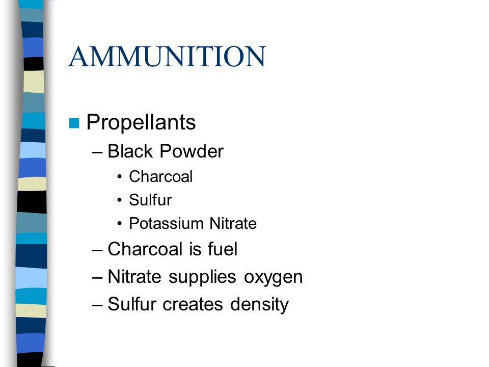 AMMUNITION Propellants Black Powder Charcoal is fuel
