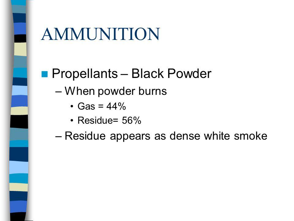 AMMUNITION Propellants – Black Powder When powder burns