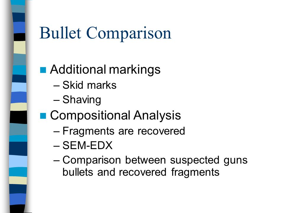Bullet Comparison Additional markings Compositional Analysis