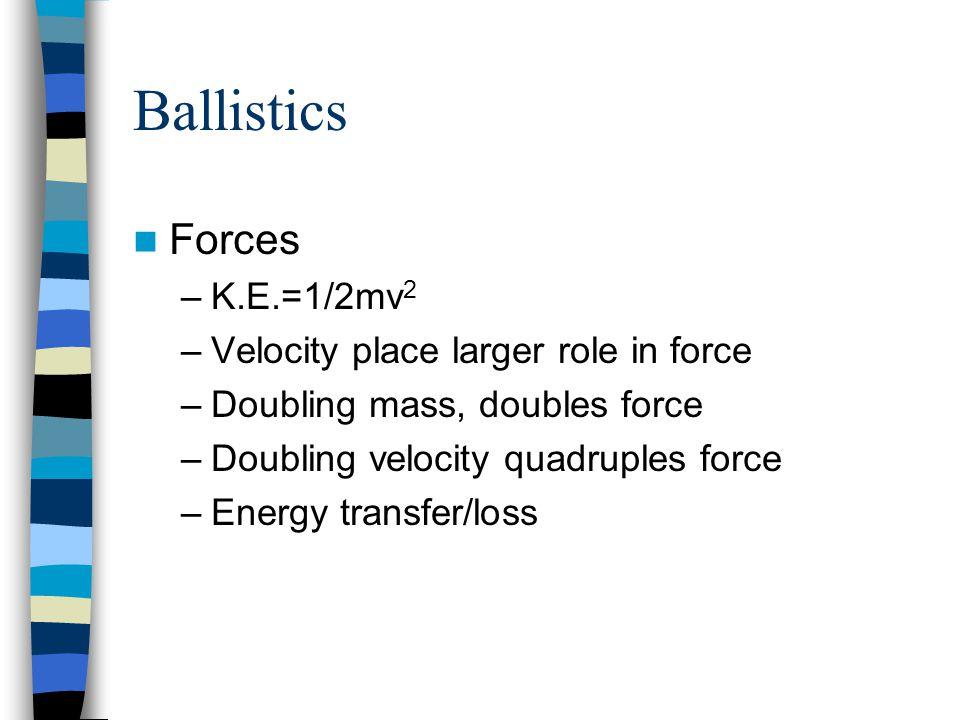 Ballistics Forces K.E.=1/2mv2 Velocity place larger role in force
