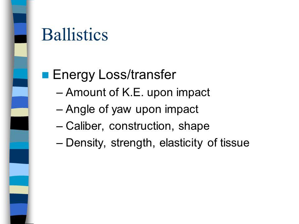 Ballistics Energy Loss/transfer Amount of K.E. upon impact