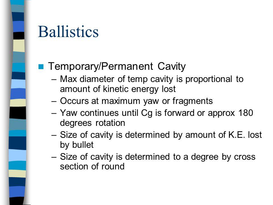 Ballistics Temporary/Permanent Cavity