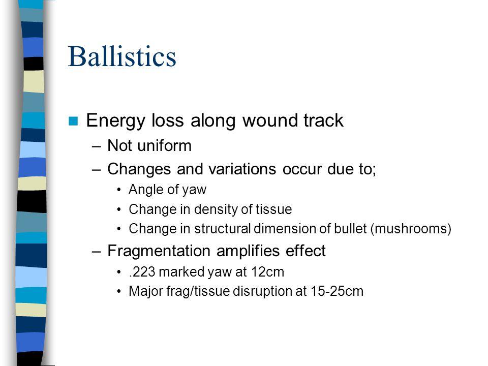 Ballistics Energy loss along wound track Not uniform