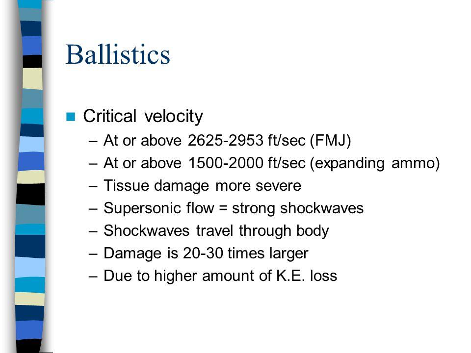 Ballistics Critical velocity At or above 2625-2953 ft/sec (FMJ)