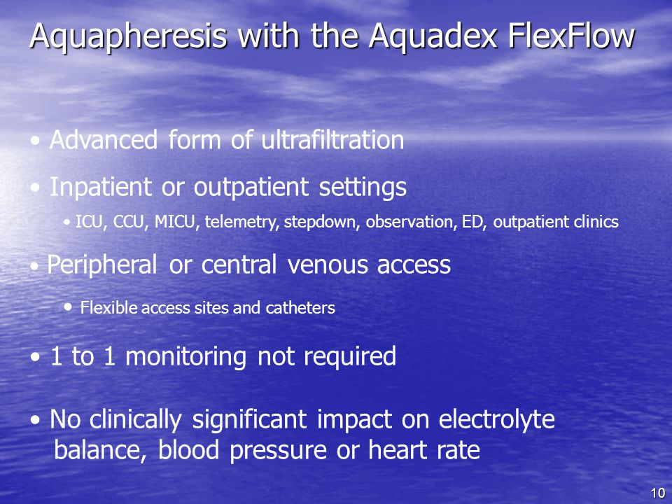 Aquapheresis with the Aquadex FlexFlow