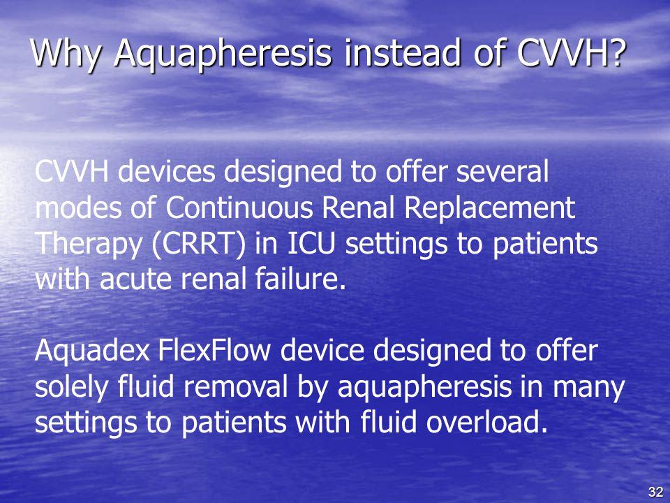 Why Aquapheresis instead of CVVH