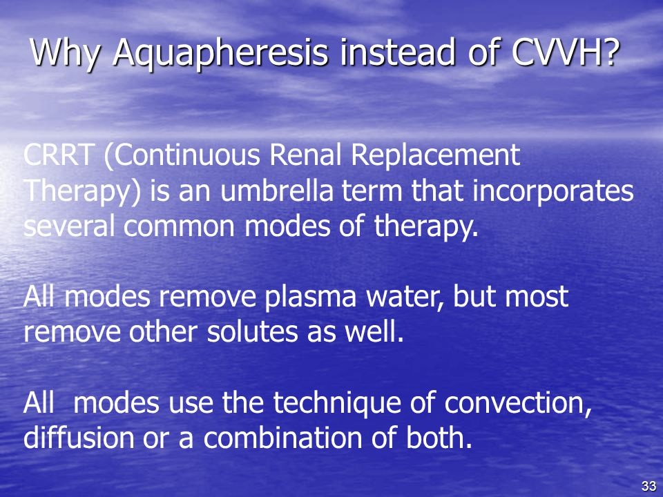 Why Aquapheresis instead of CVVH