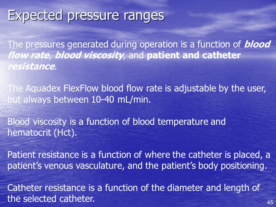 Expected pressure ranges