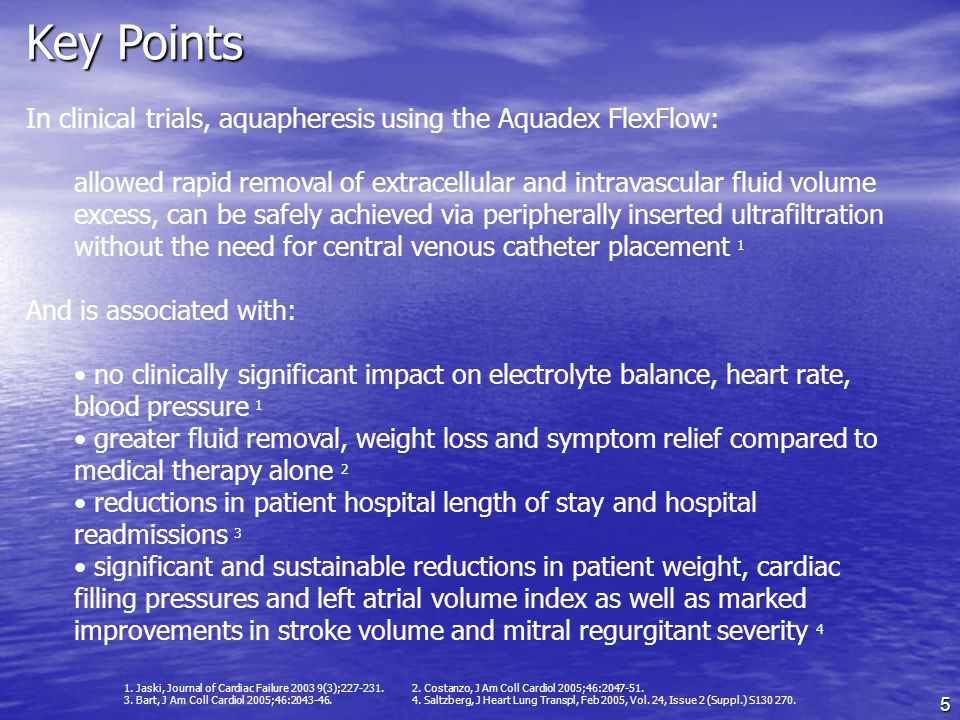 Key Points In clinical trials, aquapheresis using the Aquadex FlexFlow: