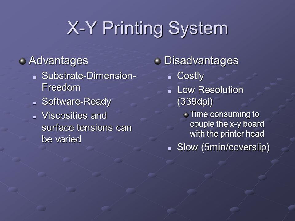 X-Y Printing System Advantages Disadvantages