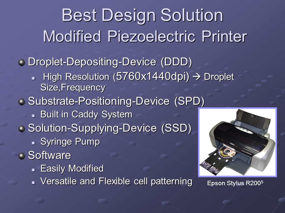 Best Design Solution Modified Piezoelectric Printer