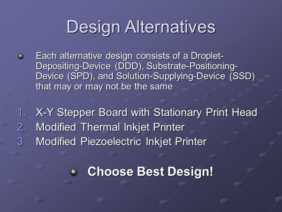 Design Alternatives Choose Best Design!
