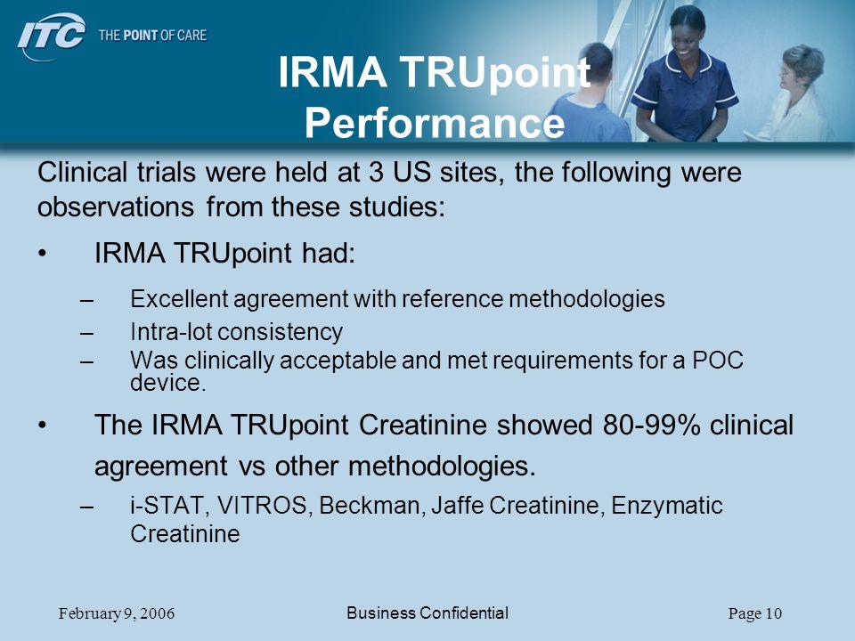 IRMA TRUpoint Performance