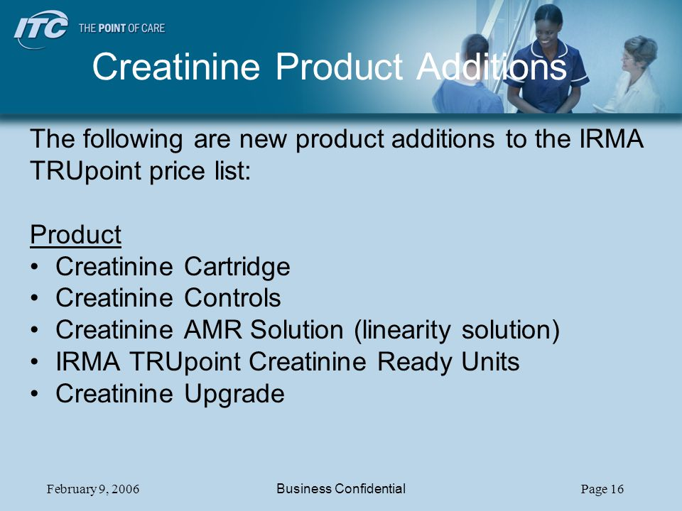 Creatinine Product Additions