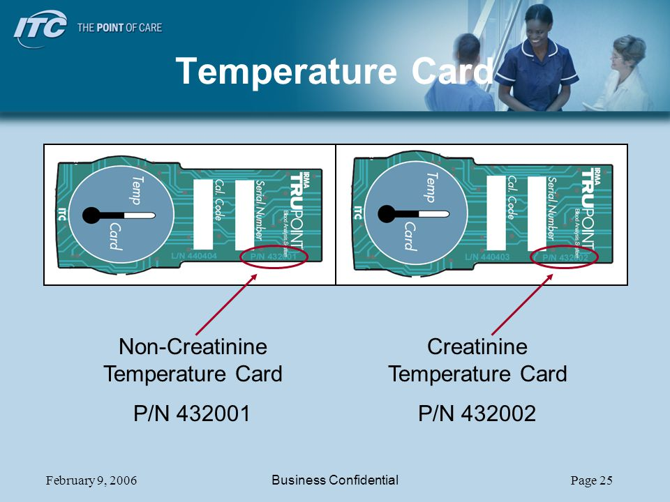 Temperature Card Non-Creatinine Temperature Card P/N 432001