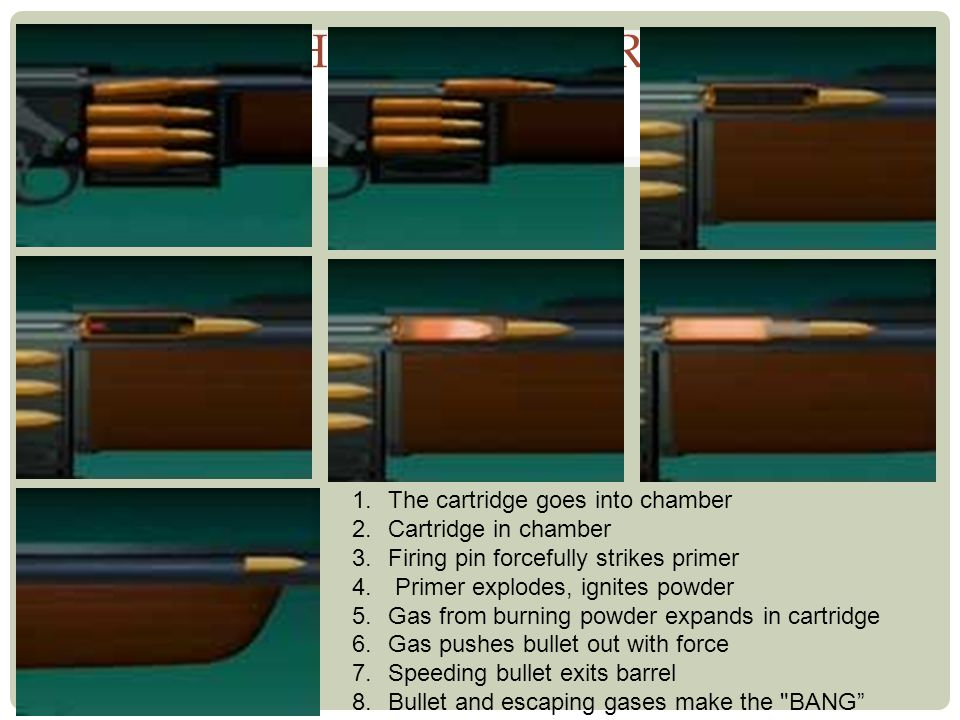 How Guns Fire The cartridge goes into chamber Cartridge in chamber