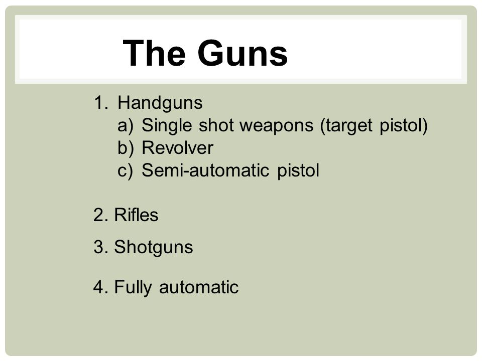 The Guns Handguns Single shot weapons (target pistol) Revolver