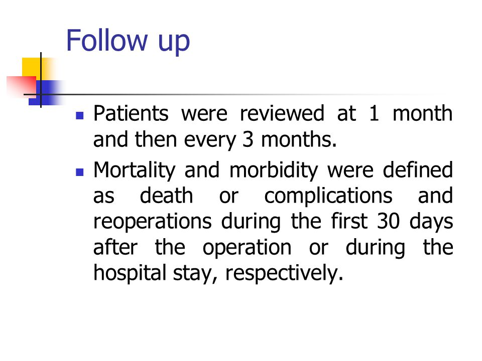 Follow up Patients were reviewed at 1 month and then every 3 months.