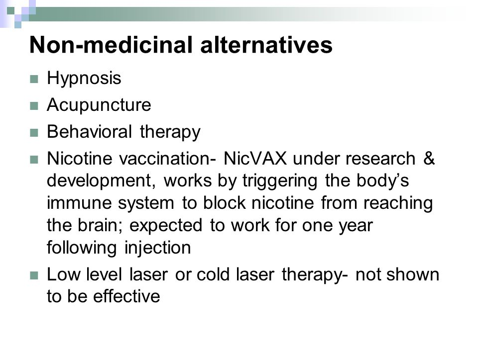 Non-medicinal alternatives