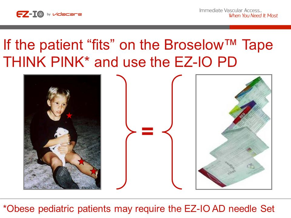 If the patient fits on the Broselow™ Tape THINK PINK