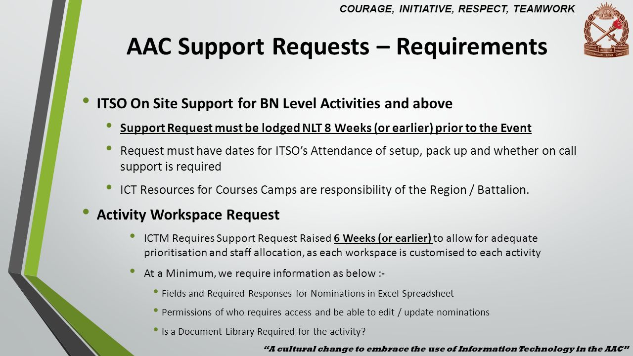 AAC Support Requests – Requirements