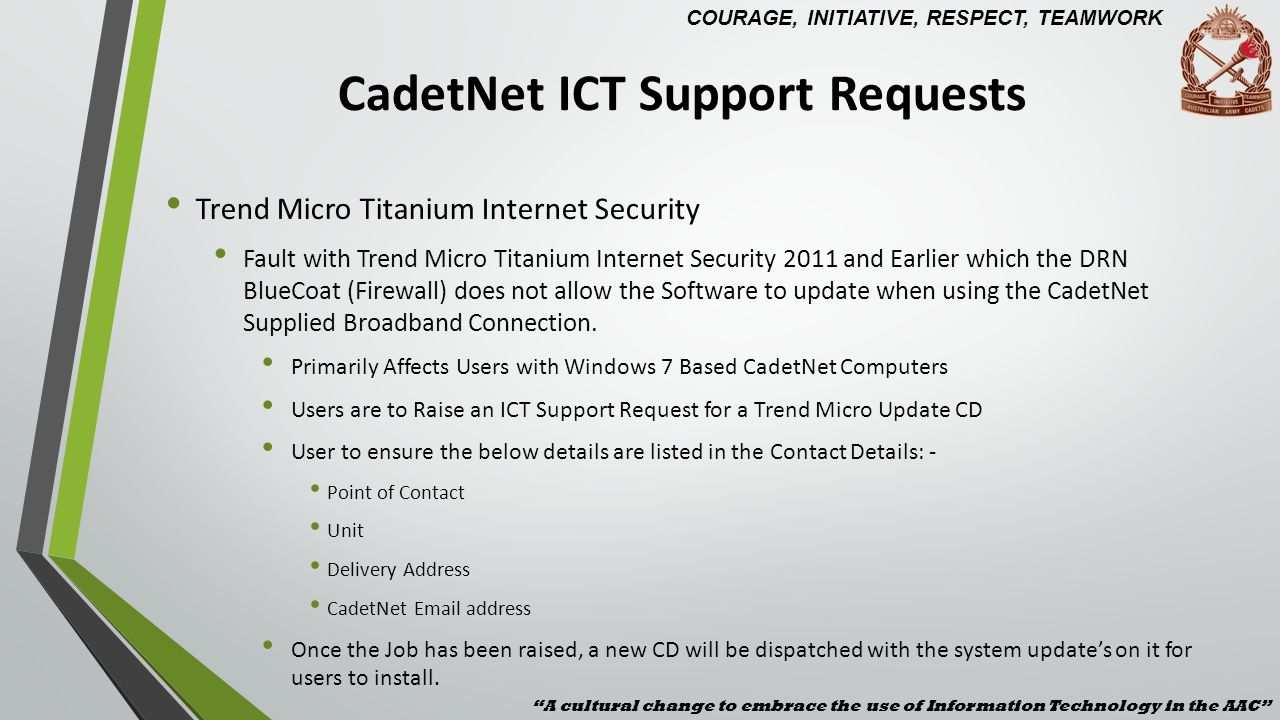 CadetNet ICT Support Requests