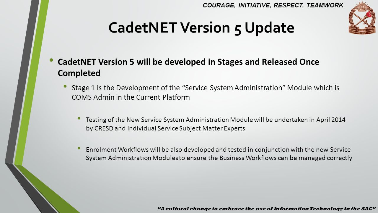 CadetNET Version 5 Update