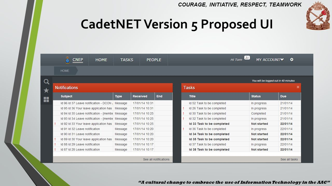 CadetNET Version 5 Proposed UI