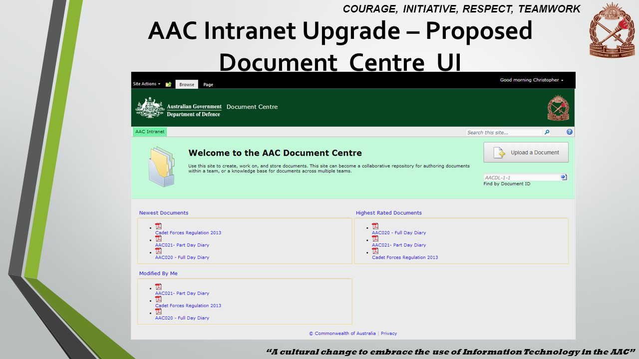 AAC Intranet Upgrade – Proposed Document Centre UI
