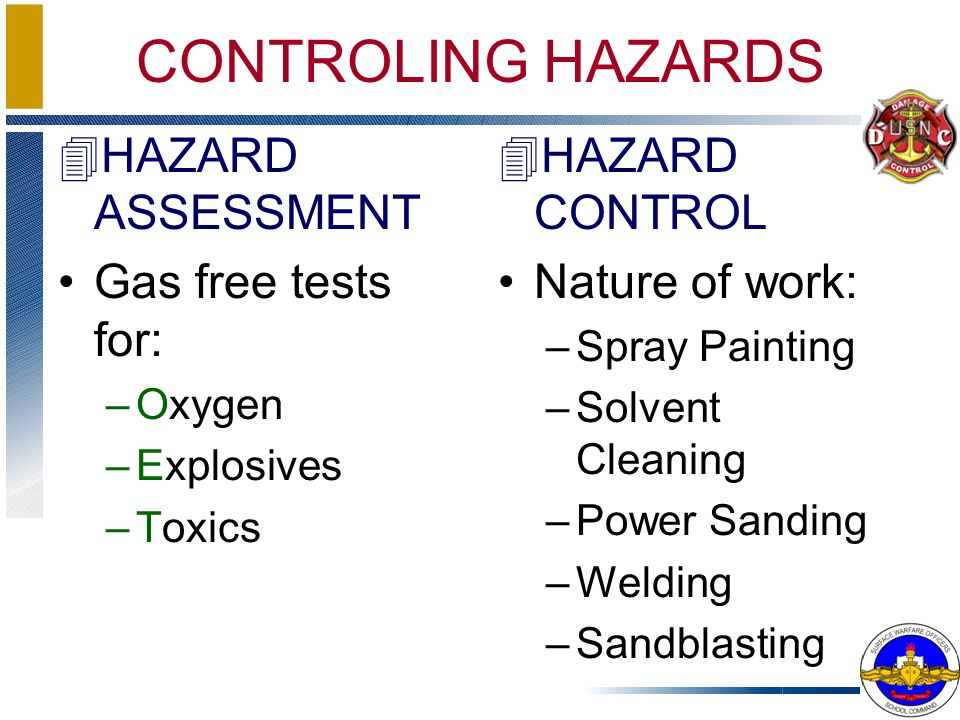 CONTROLING HAZARDS HAZARD ASSESSMENT Gas free tests for: