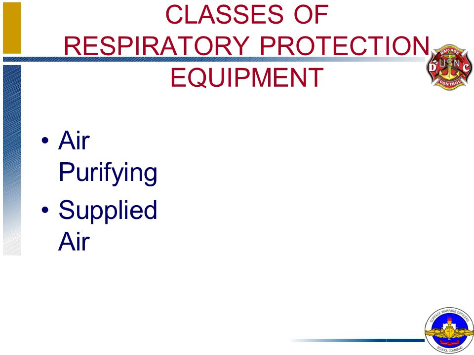CLASSES OF RESPIRATORY PROTECTION EQUIPMENT