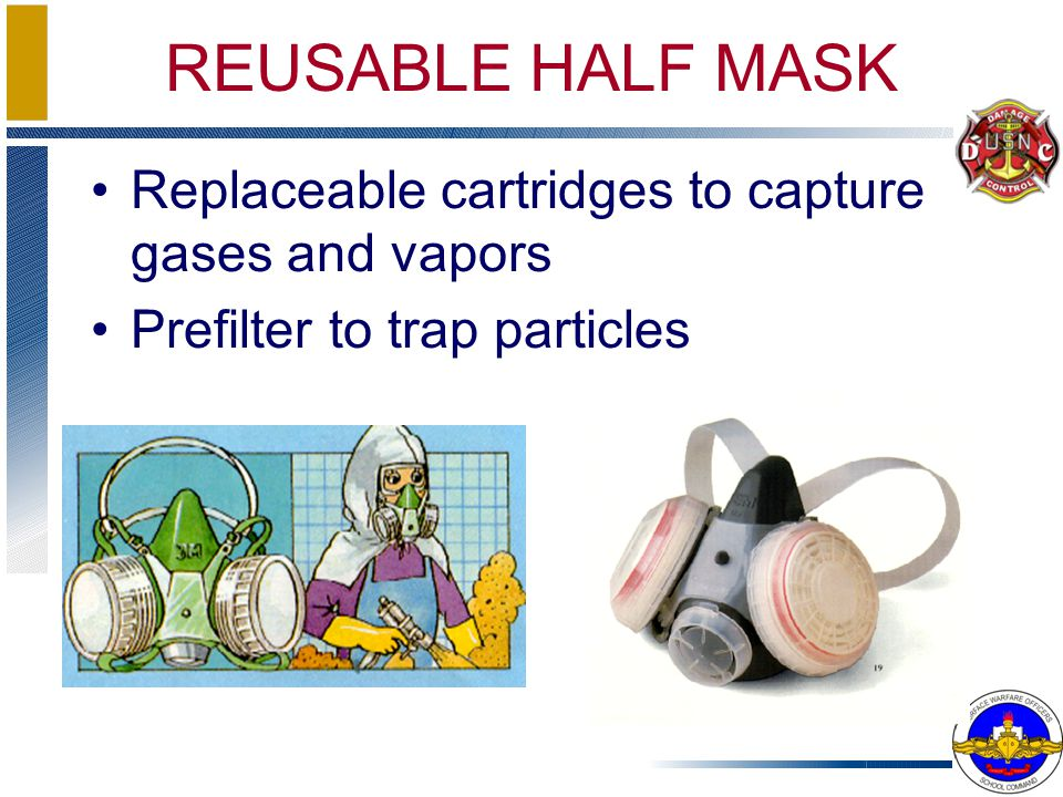 REUSABLE HALF MASK Replaceable cartridges to capture gases and vapors