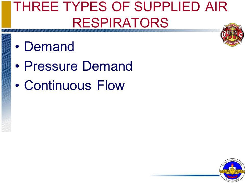THREE TYPES OF SUPPLIED AIR RESPIRATORS
