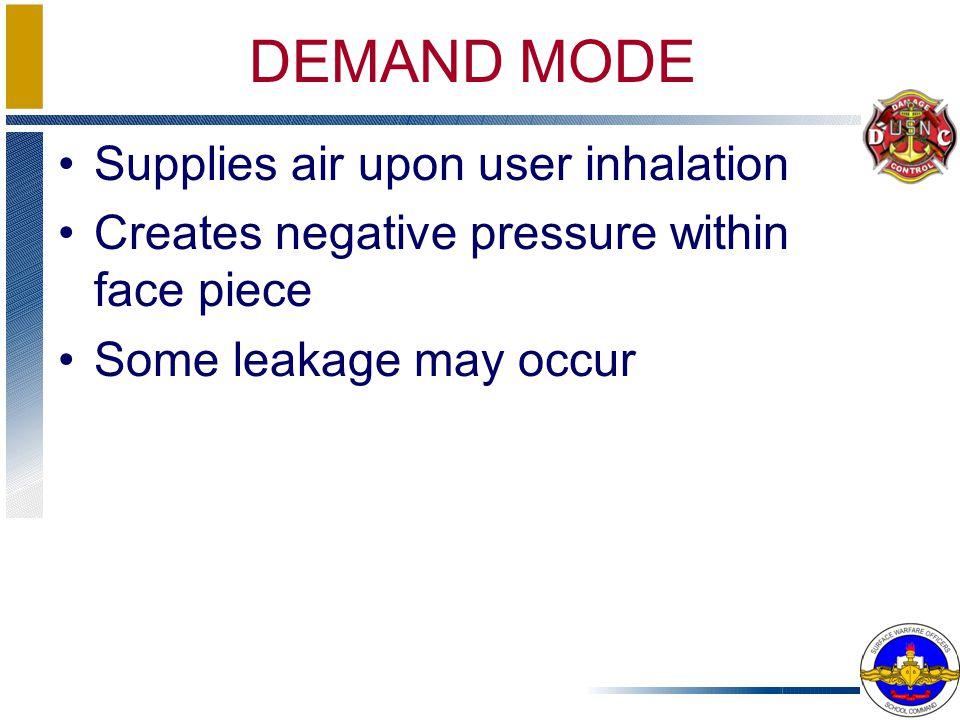 DEMAND MODE Supplies air upon user inhalation