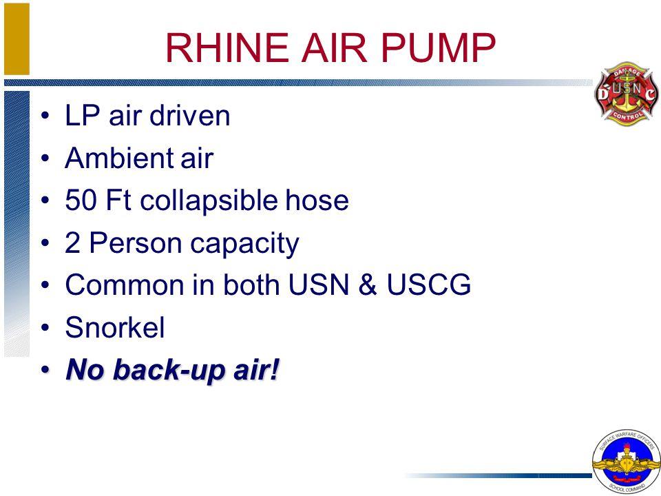 RHINE AIR PUMP LP air driven Ambient air 50 Ft collapsible hose